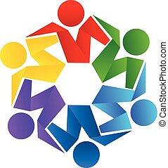 vettore, logotipo, abbraccio, lavoro squadra, persone