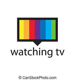 vettore, logotipo, con, uno, spettro, in, il, schermo tv