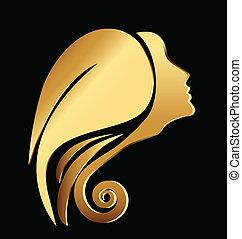 vettore, logotipo, donna, oro, faccia