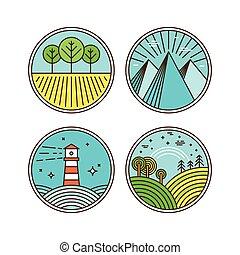 vettore, logotipo, elementi, disegno, icone