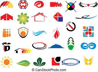 vettore, logotipo, elementi