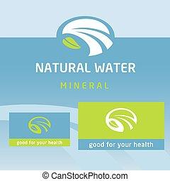 vettore, logotipo, etichetta, naturale, product., pulito, eco-amichevole, natural., acqua, latte