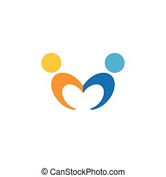 vettore, logotipo, icona, di, amicizia, dipendenza, empatia,...