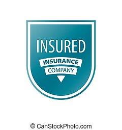 vettore, logotipo, in, il, forma, di, scudo, per, assicurazione