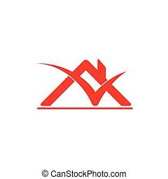 vettore, logotipo, marchio, tetto, assegno, casa