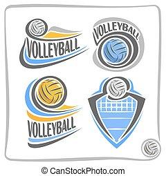 vettore, logotipo, palla, pallavolo