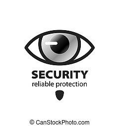 vettore, logotipo, protezione, occhio, sorveglianza