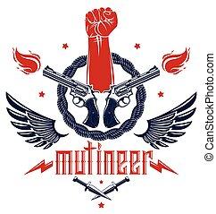 vettore, logotipo, ribelle, tumulto, aggressivo, anarchia, tatuaggio, armi, forte, disegno, differente, stretto, revolutionary., rivoluzione, partigiano, pugno, elementi, emblema, caos, o