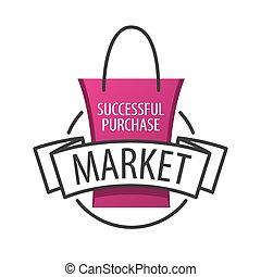 vettore, logotipo, sacchetto spesa, su, il, mercato