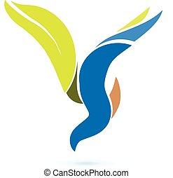 vettore, logotipo, simbolo, uccello volante