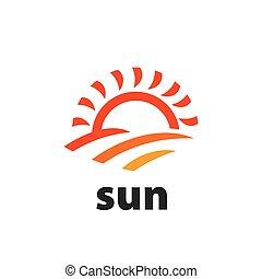 vettore, logotipo, sole