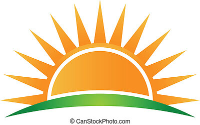 vettore, logotipo, sole, orizzonte