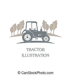 vettore, -, logotype, trattore
