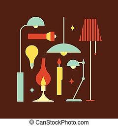 vettore, luce, set, illustrazione, icona