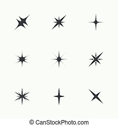 vettore, luci, set, scintilla, stars.