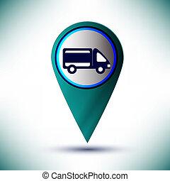 vettore, lucido, automobile, icona, bottone, disegnare elemento, su, uno, blu, fondo.