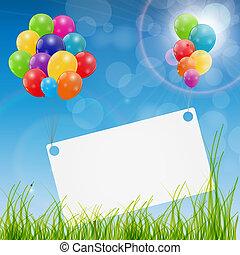 vettore, lucido, scheda, palloni, colore sfondo, compleanno...