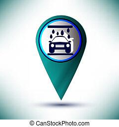 vettore, lucido, servizio automobile, icona, icona, bottone, disegnare elemento, su, uno, blu, fondo.