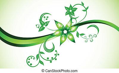 vettore, luminoso, fondo, in, verde, colorare