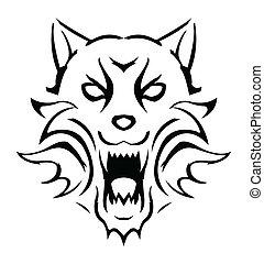 vettore, lupo, illustrazione
