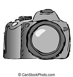 vettore, macchina fotografica, ancora