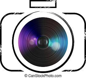 vettore, macchina fotografica, icona