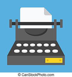 vettore, macchina scrivere, icona