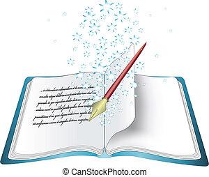 vettore, magia, libro