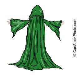 vettore, mago, o, monk., illustrazione
