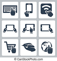vettore, mani, set, icone tecnologia