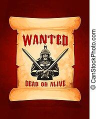 vettore, manifesto, desiderato, morto, o, vivo, medievale, cavaliere