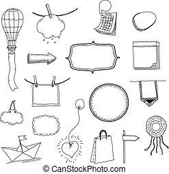 vettore, mano, disegnato, messaggio, cornici, set