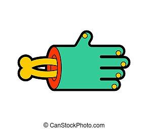 vettore, mano, illustration?, osso, isolated., morto, verde, zombie, braccio, man.