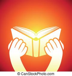 vettore, -, manuale, libro, tenere mani, icona