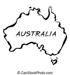 vettore, mappa, nero australia