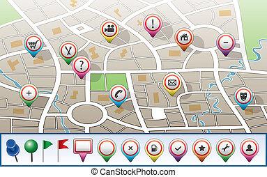 vettore, mappa urbana, con, gps, icone
