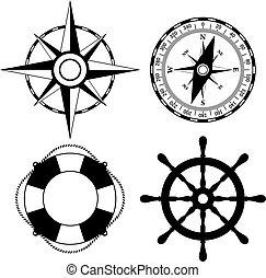 vettore, marino, icone