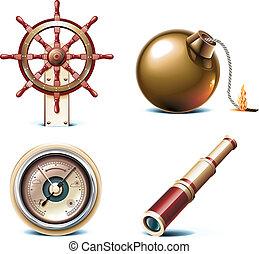 vettore, marino, viaggiare, icons.