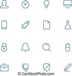 vettore, materiale, disegno, style., icone