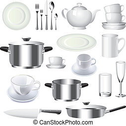 vettore, materiale, set, vasellame, cucina