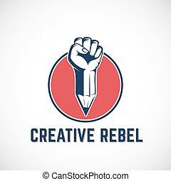 vettore, matita, mano., concetto, tumulto, segno, astratto, o, creativo, stilizzato, mescolato, rivoluzione, ribelle, pugno, template., logotipo, simbolo, circle., rosso, icona