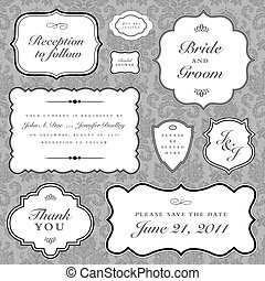 vettore, matrimonio, cornice, set