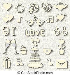vettore, matrimonio, set, icone