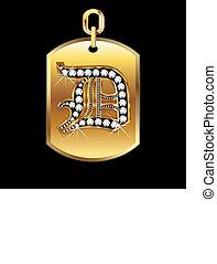 vettore, medaglia, d, oro, diamanti