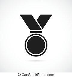 vettore, medaglia, nastro, icona