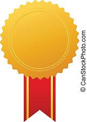 vettore, medaglia, oro, premio