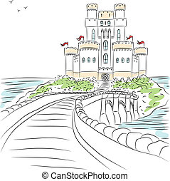 vettore, medievale, castello