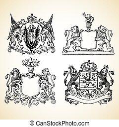 vettore, medievale, creste, animale
