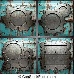 vettore, metallo, fondo, set