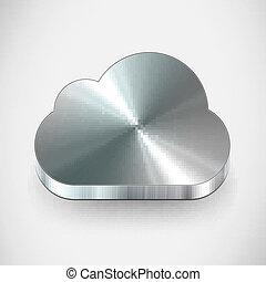 vettore, metallo, nuvola, icona